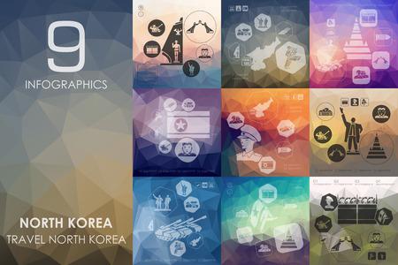 pyongyang: North Korea vector infographics with unfocused polygonal background