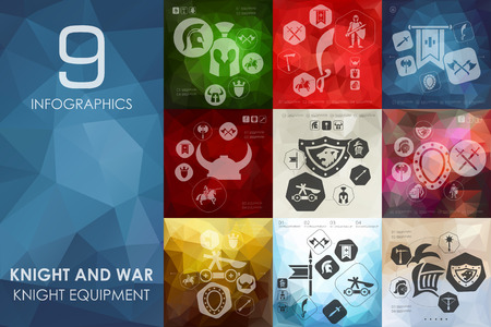 chivalry: knight and war vector infographics with unfocused polygonal background Illustration