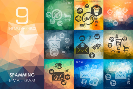 spamming: spamming vector infographics with unfocused polygonal background Illustration