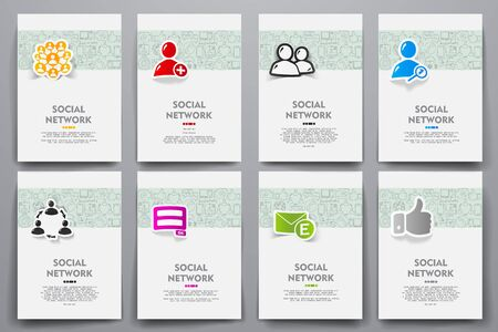 web portal: Corporate identity vector templates set with doodles social network theme. Target marketing concept