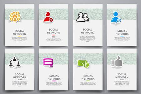 Huisstijl vector sjablonen instellen met doodles sociaal netwerkthema. Target marketingconcept Stock Illustratie