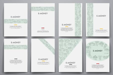 liabilities: Corporate identity vector templates set with doodles e-money theme. Target marketing concept