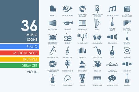 ensemble de vecteur de musique de simples icônes modernes Vecteurs