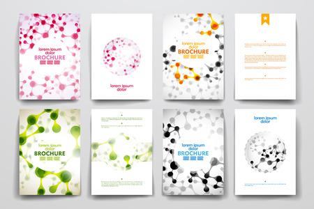 Conjunto de folleto, plantillas de carteles en el estilo de molécula de ADN. Hermoso diseño y el diseño Ilustración de vector
