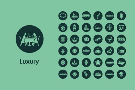 luxury travel: It is a set of luxury simple web icons Illustration