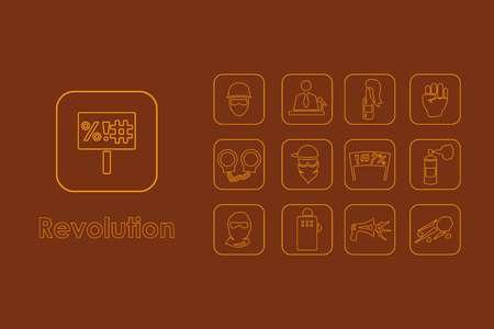 labor strong: It is a set of revolution simple web icons Illustration