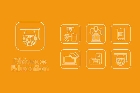 distance learning: It is a set of distance learning simple web icons