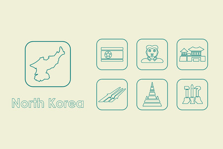 pyongyang: It is a set of North Korea simple web icons Illustration