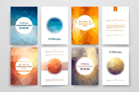 inclination: Set of brochures in poligonal style on Valentines Day theme. Beautiful frames and backgrounds