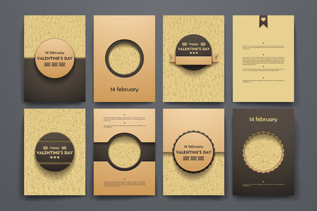 reciprocity: Vector design brochures with doodles backgrounds on Valentines Day theme