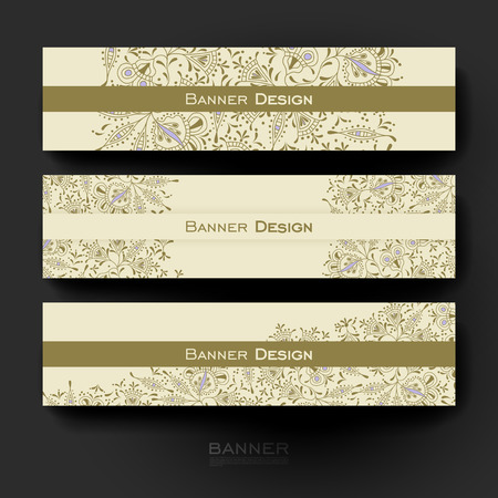varied: Beautiful banner vector template with floral ornament background. Creative modern design
