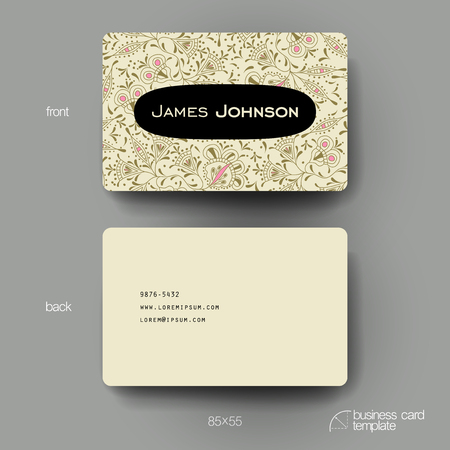 varied: Business card vector template with floral ornament background. Creative modern design