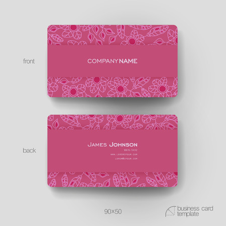 winds: Business card vector template with floral abstract background. Creative modern design