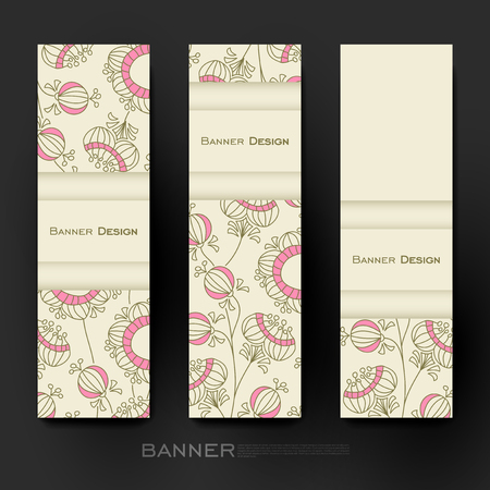 varied: Beautiful banner vector template with floral abstract background. Creative modern design