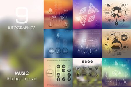 workmanship: music vector infographics with unfocused blurred background