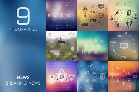 tv tower: news vector infographics with unfocused blurred background
