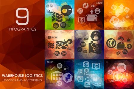 logistics: warehouse logistics vector infographics with unfocused polygonal background Illustration