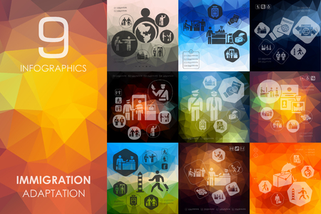 immigration vector infographics with unfocused polygonal background