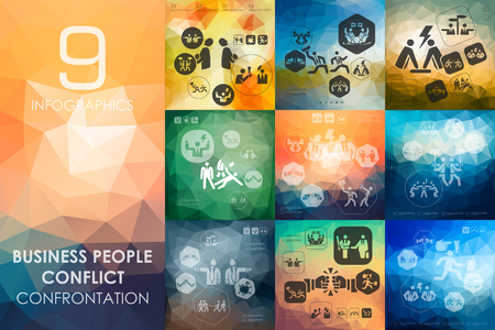 conflict: business people conflict vector infographics with unfocused polygonal background