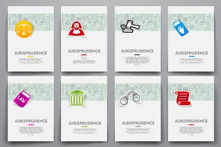 jurisprudencia: Plantillas de identidad corporativa de vector se establece con la temática garabatos jurisprudencia. Objetivo concepto de marketing Vectores
