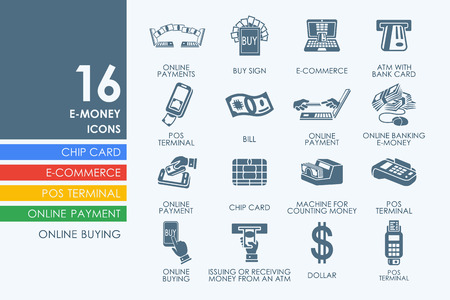 e systems: e-money vector set of modern simple icons Illustration