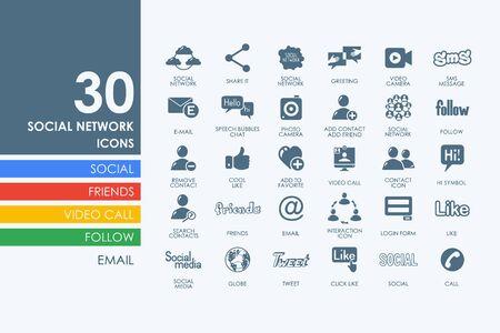 vecteur de réseau social ensemble d'icônes simples modernes