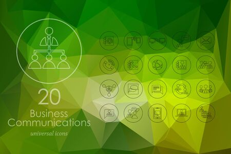multi ethnic group: business communications modern icons for mobile interface on blurred background