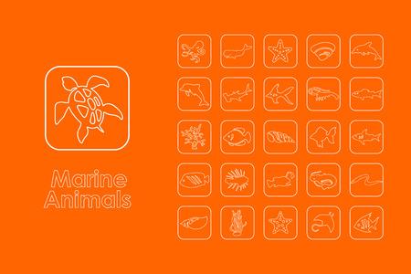 cramp: It is a set of marine animals simple web icons Illustration