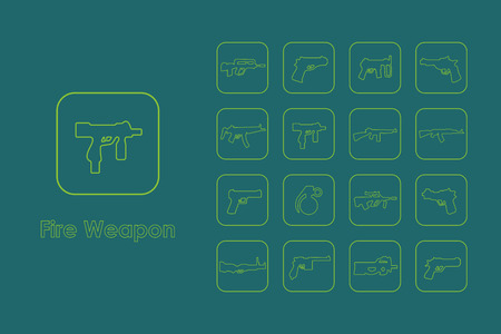 It is a set of fire weapon simple web icons