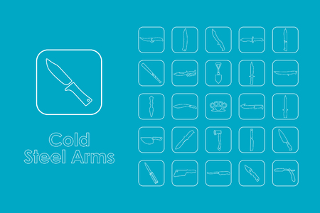 cold steel: It is a set of cold steel arms simple web icons Illustration