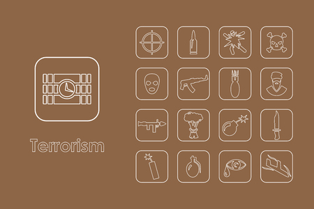 It is a set of terrorism simple web icons Vectores