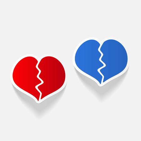 romantic heart: realistic design element: broken heart
