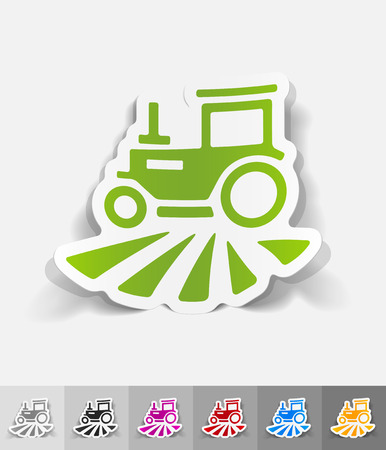 tractor paper sticker with shadow. Vector illustration