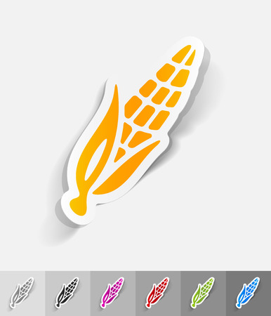 corn paper sticker with shadow. Vector illustration