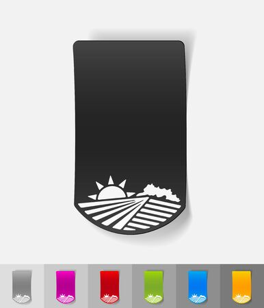 agricultural: agricultural landscape paper sticker with shadow. Vector illustration