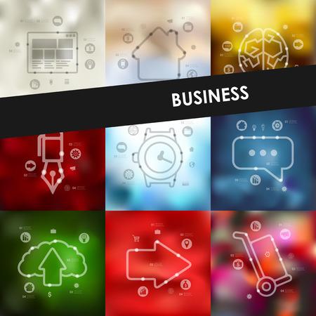 unfocused: business timeline presentations with blurred unfocused background Illustration