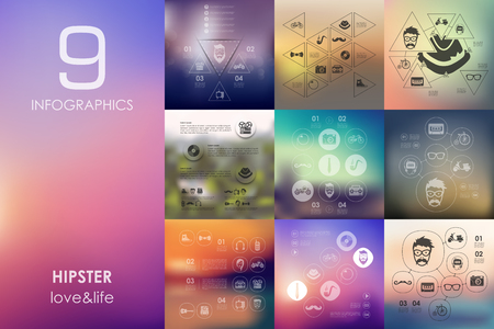 admirer: hipster vector infographics with unfocused blurred background