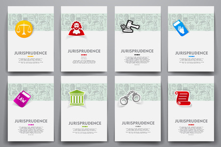 Corporate identity vector templates set with doodles jurisprudence theme. Target marketing concept