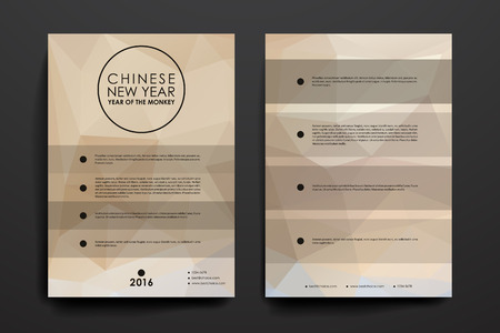 broshure: Set of brochure, poster templates in Chinese New Year style. Beautiful design and layout