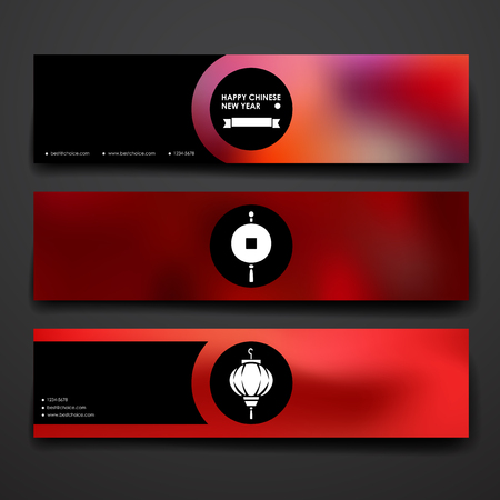 Set of modern design banner template in Chinese New Year style. Beautiful design and layout Illustration