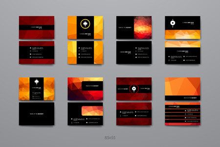 china business: Set of Business Card Template in Chinese New Year style. Beautiful Design and Layout