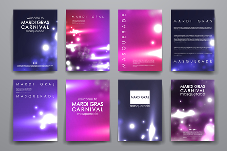 Set of brochure, poster templates in Mardi Gras style. Beautiful design and layout