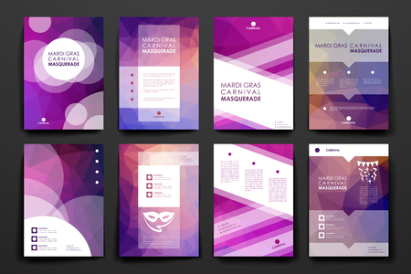 broshure: Set of brochure, poster templates in Mardi Gras style. Beautiful design and layout
