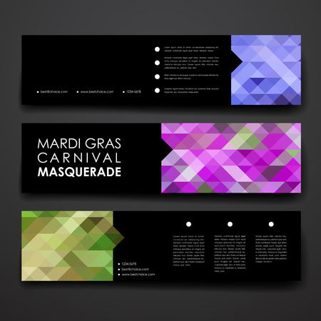 decoration decorative disguise: Set of modern design banner template in Mardi Gras style. Beautiful design and layout