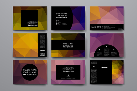 carnivale: Set of modern design banner template in Mardi Gras style. Beautiful design and layout