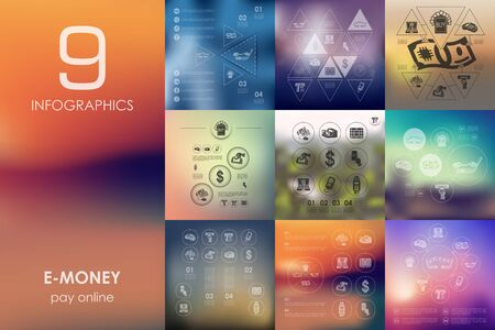 unfocused: e-money vector infographics with unfocused blurred background