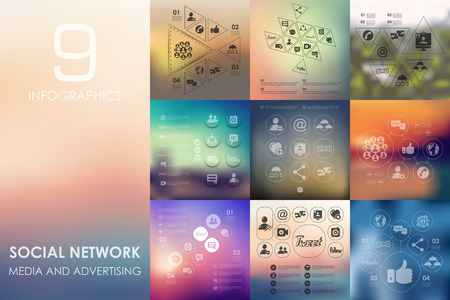 web portal: social network vector infographics with unfocused blurred background