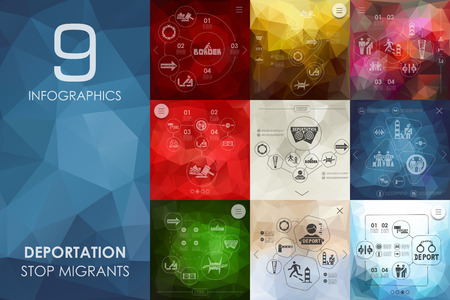 deportation vector infographics with unfocused polygonal background Illustration