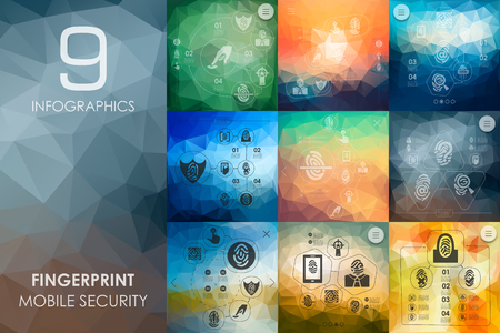 detention: fingerprint vector infographics with unfocused polygonal background Illustration