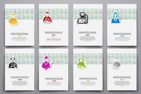 speciality: Corporate identity vector templates set with doodles professions theme. Target marketing concept